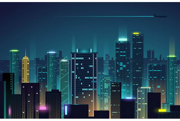 Модульная картина с часами Ночной город