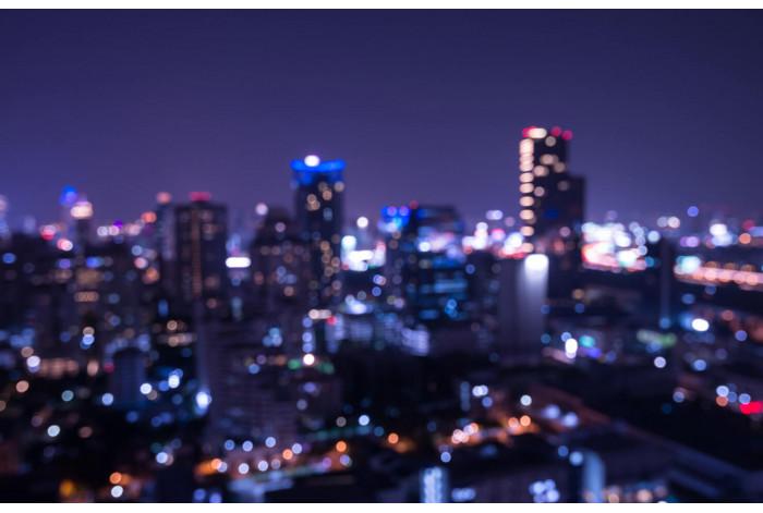 Модульная картина с часами Ночной мегаполис