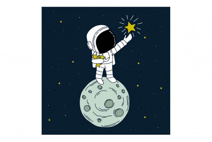 Картина Космонавт на луне