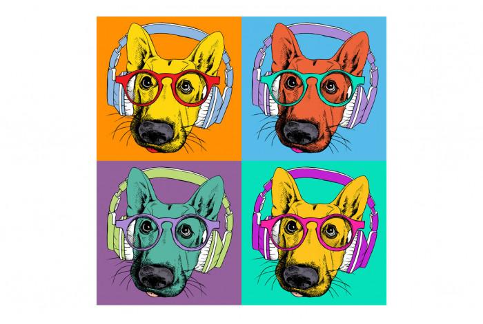 Постер Поп-арт Собаки в наушниках