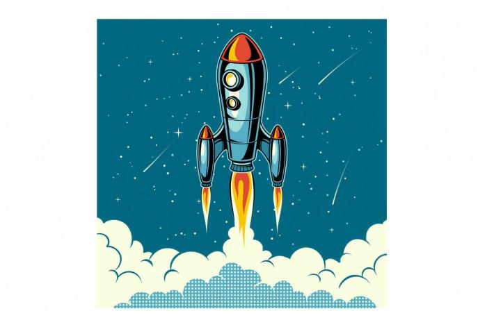 Постер Поп-арт Ракета в облаках