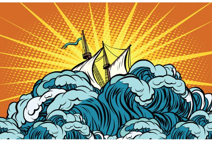 Постер Поп-арт Корабль в волнах